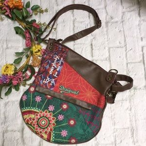 Desigual Mismatched Embroidered Crossbody Bag